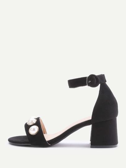 Sandalias de tacón cuadrado y diseño en dos partes con perla de imitación