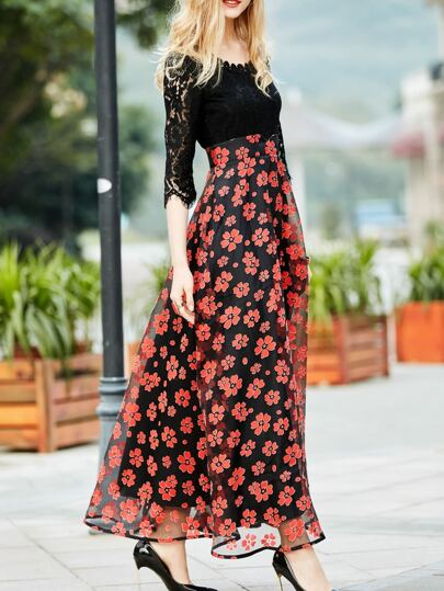 Red Contrast Gazue Print Lace Dress