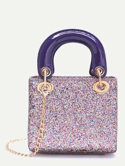 Multicolor Chain Detail Sequin Handbag With Double Handle