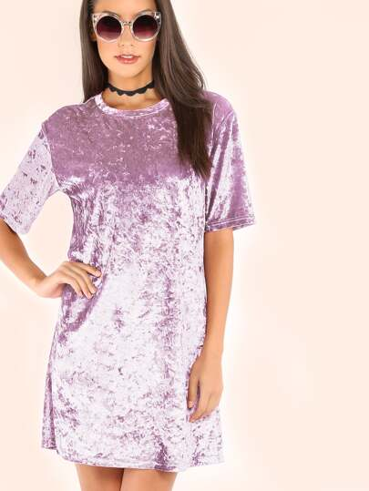 Purple Short Sleeve Crushed Velvet Dress