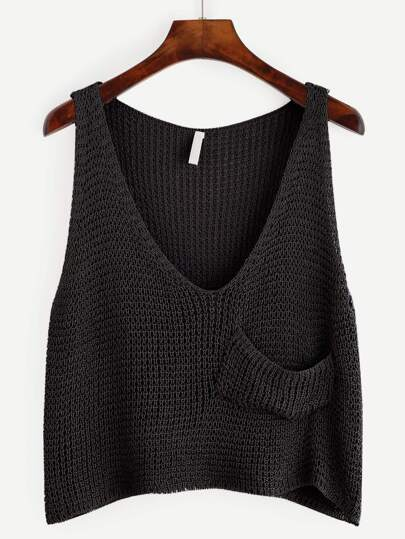 Plunge Neckline Crop Knit Tank Top