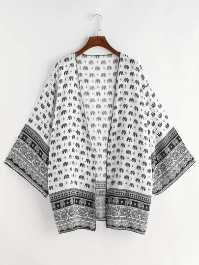 Kimono de hombro caído con estampado de vintage