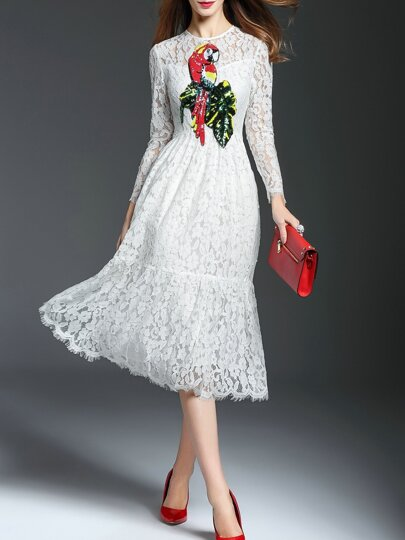 White Parrot Sequined Lace Dress