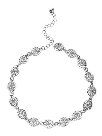 Silver Flower Hollow Out Choker Necklace