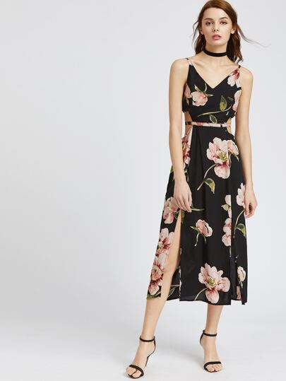 Black Floral Split Side Open Back Cami Dress