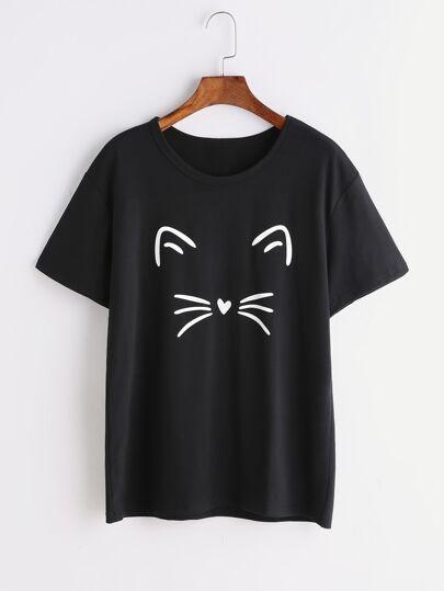 Cat Print Plain Tee