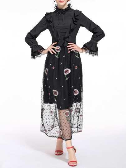 Black Ruffle Bell Sleeve Gauze Embroidered Dress