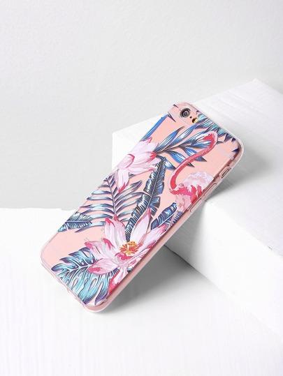 Cover per iphone 6/6s con stampa di fiore e foglia