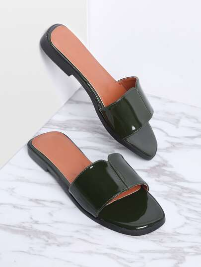 Dark Green Patent Leather Slide Flat Sandals