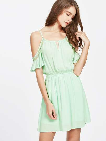 Double Keyhole Mesh Insert Flutter Sleeve Dress
