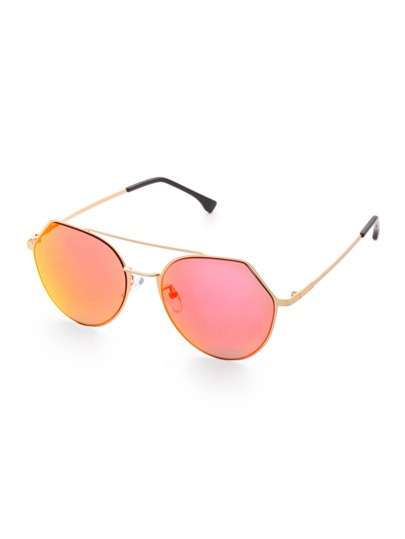 Double Bridge Red Lens Sunglasses