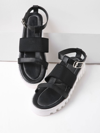 Black Contrast Sole Strappy Sandals