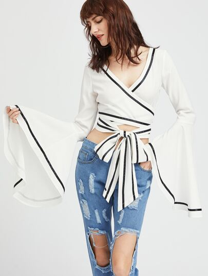 Contrast Binding Drama Sleeve Cross Wrap Top