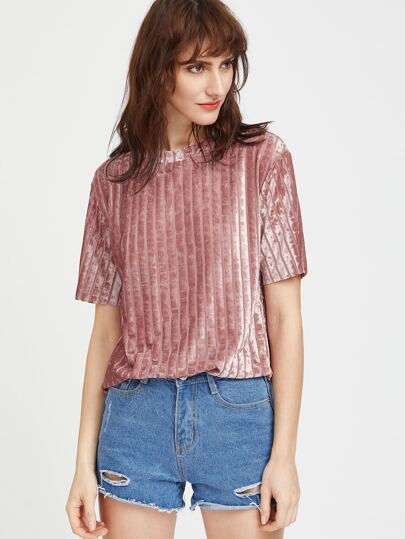 Velvet gestreiften Hemd - Pink