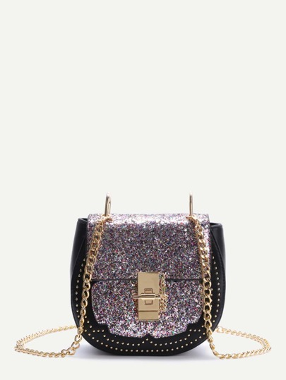 Colorful Sequin Saddle Bag With Chain