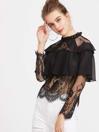 Contrast Lace Ruffle Trim Sheer Blouse