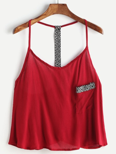 Embroidered Tape Detail Cami Top