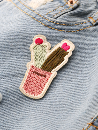Color Block Knitted Cactus Patch