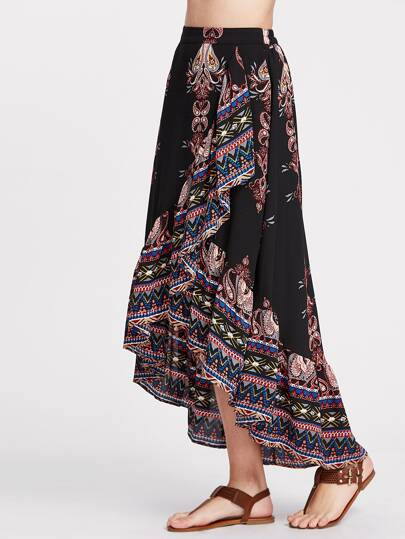 Paisley Print Ruffle Hem High Low Wrap Skirt