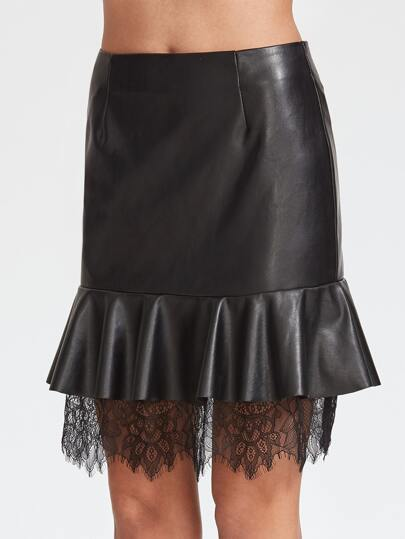 Black Coated Lace Trim  Ruffle Skirt