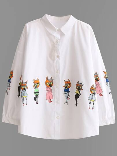 White Cartoon Print Blouse With Buttons