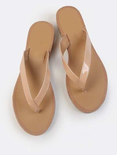 Cork Wedge Thong Sandals NUDE