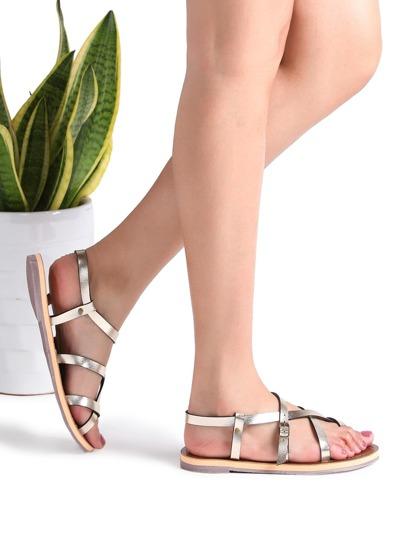 Gold Cross Detail Flat Sandals