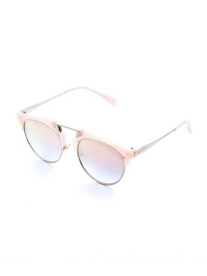 Pink Lens Sliver Arm Retro Style Sunglasses