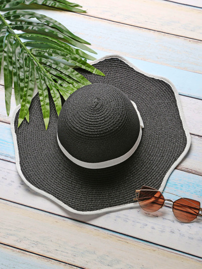 Black Contrast Trim Hat With Bow