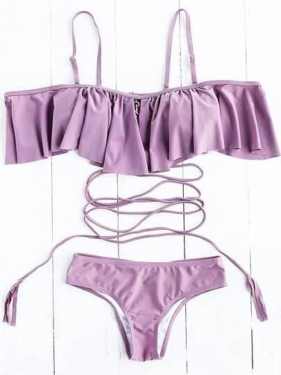Purple Ruffle Detail Strappy Bikini Set