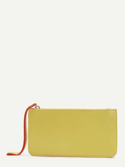 Yellow Contrast Trim Zipper PU Wallet