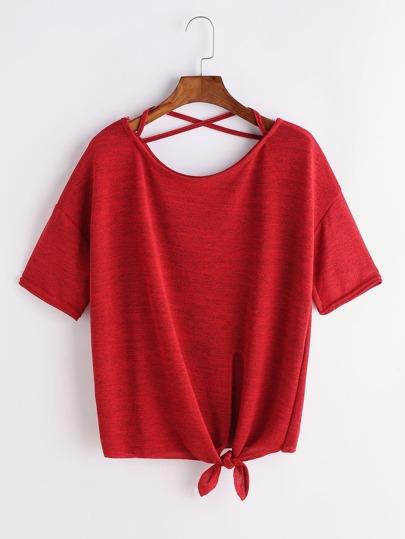 Camiseta con espalda cruzada y bajo con nudo - borgoña