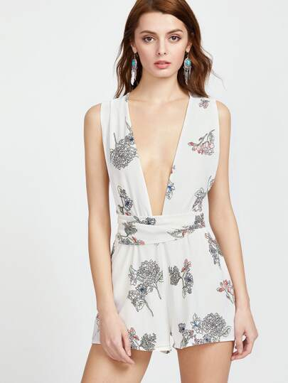 Deep V Neckline Crisscross Self Tied Back Romper