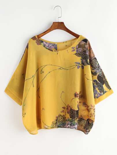 Flower Print Button Back Chiffon Blouse