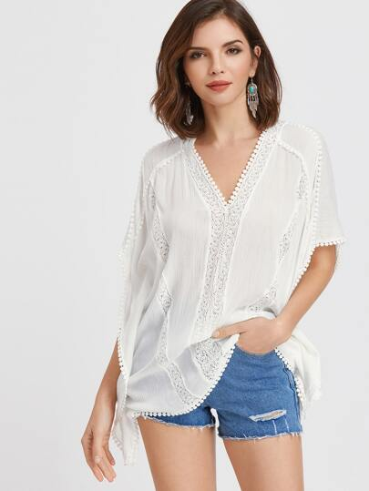 Top à encolure en V blanc en crochet
