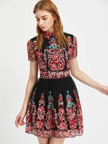 Paisley Embroidered Mesh Overlay Flared Dress