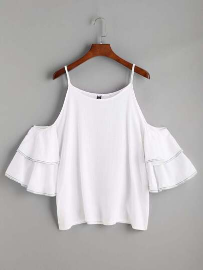 White Cold Shoulder Ruffle Tiered Top