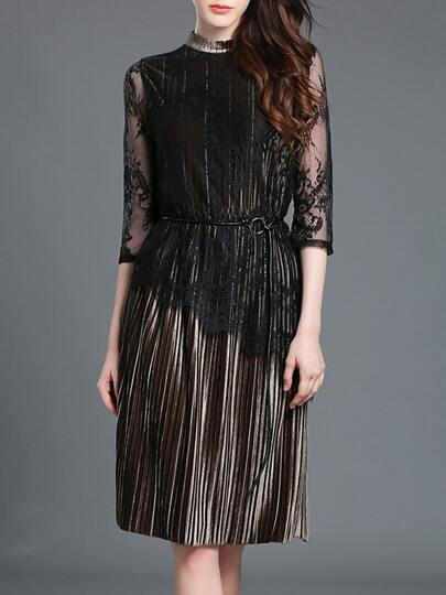 Black Sheer Tie-Waist Pleated Lace Dress