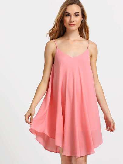 Pink Spaghetti Strap Asymmetrical Shift Dress Sundresses