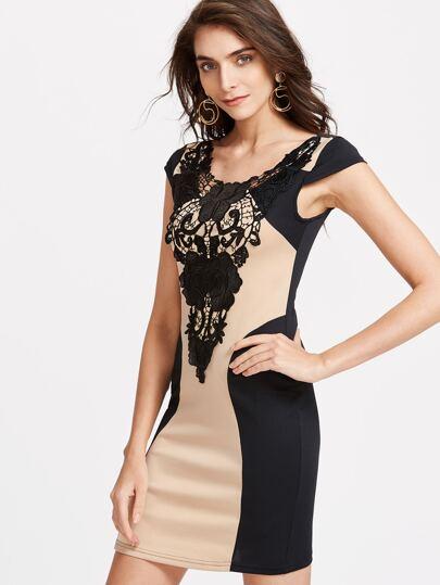 Contrast Panel Applique Sheath Dress