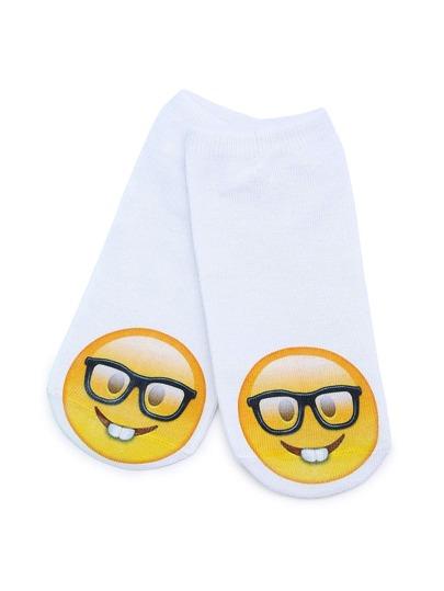 Calzini con stampa di emoji carina , bianca