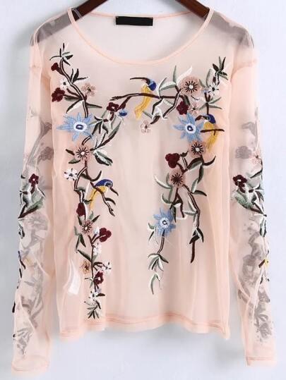 Blusa con bordado de flor de malla - albaricoque