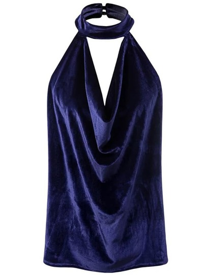 Top en velours sans manches Royal Blue Halter