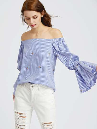 Off Shoulder Striped Trumpet Sleeve Embroidered Top