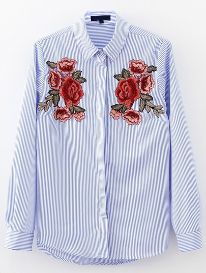 Flower Embroidery Vertical Striped Blouse