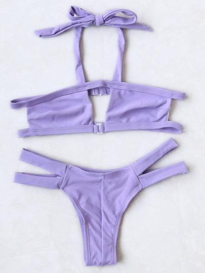 Purple Halter Cutout Design Bikini Set