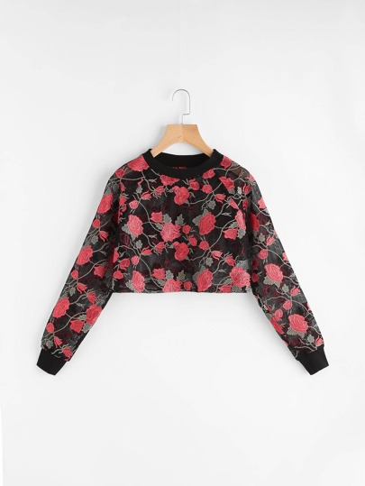 Black Rose Embroidered Crop Fishnet Sweatshirt