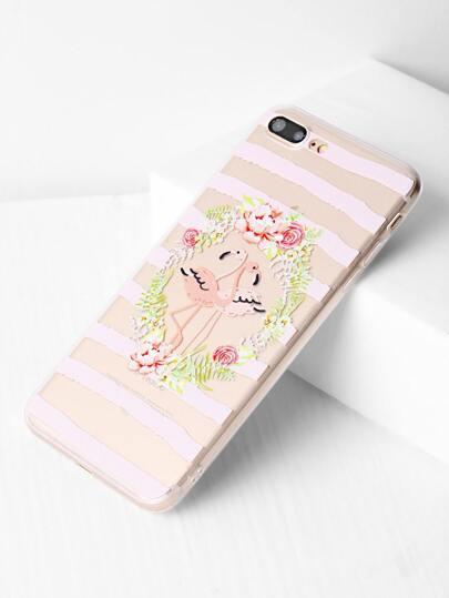 Blumen-und Vogel-Druck-klares iPhone 7 Plus Fall