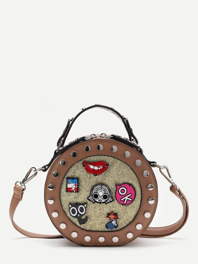 Brown Studded Trim Patch Detail Round Crossbody Bag