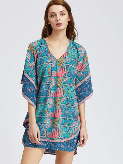 Blue Paisley Print Dolman Sleeve Dress